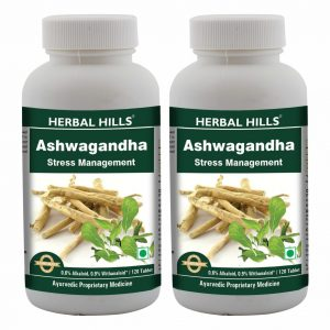 Herbal Hills Ashwagandha Tablets, 500 mg Ashwagandha root powder and extract with 0.6% Alkaloids and 0.9% Withanaloids, 120 Tablets Pack of 2, Stress Relief Supplement*, Strength & Mood Enhancer*, Immunity support*