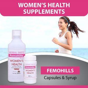 Ayurvedic Basket for Women's Health ( Femohills 30 Soft Capsule, Femohills Herbal Shots 500ml )